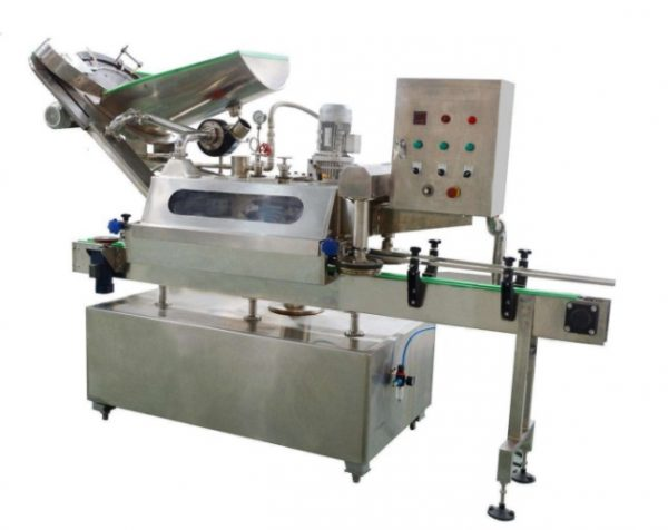 Glass bottle three (four) capping machine