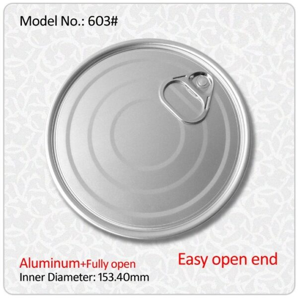 Factory 153.4 mm 603 aluminum or tinplate easy open ends for food packing